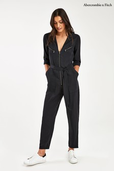 Abercrombie & Fitch Black Wrap Jumpsuit