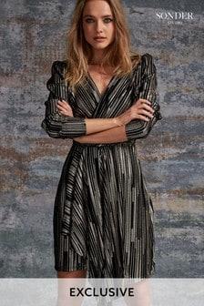 Sonder Gold Foil Pleated Dress