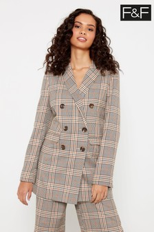 F&F Neutral Check Longline Blazer