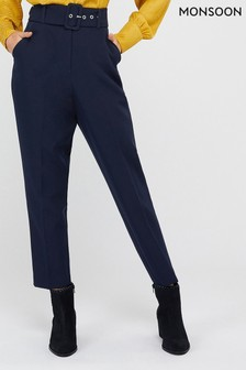 Monsoon Ladies Blue Erica Tapered Leg Trousers