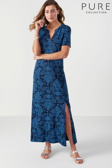 Pure Collection Blue Jersey Open V-Neck Maxi Dress
