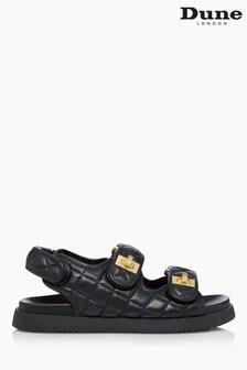 Dune London Black Lockstockk Double Strap Flat Sandals
