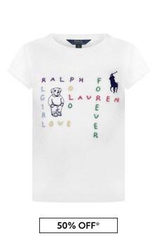 Girls White Cotton Jersey T-Shirt