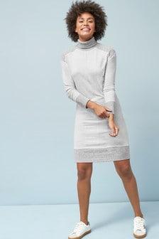 Ribbed Roll Neck Jumper Dress