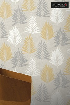 Arthouse Yellow Linen Palm Leaves Wallpaper