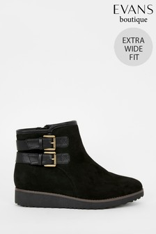 Evans Extra Wide Fit Black Faux Fur Lined Ankle Boots