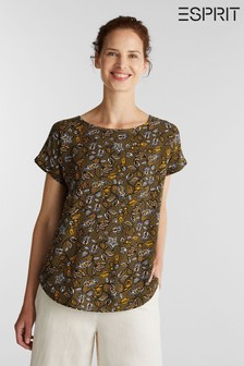 Esprit Green Short Sleeved Woven Print Blouse