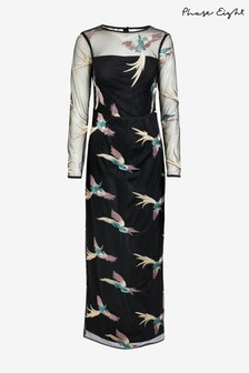 Phase Eight Black Astrid Embroidered Bird Dress