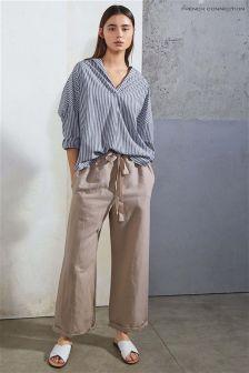 Бежевые брюки из хлопка и льна с завязками на талии French Connection Patras