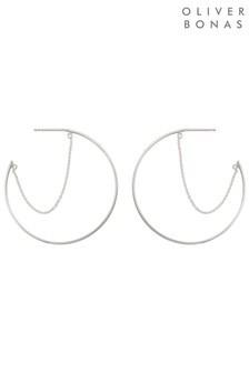 Oliver Bonas Silver Tone Linear Chain Hoop Earrings