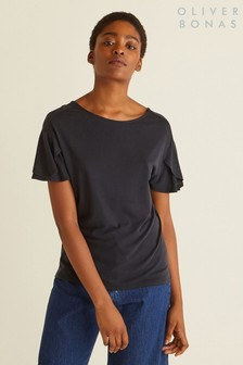 Oliver Bonas Tulip Sleeve Black Jersey Top