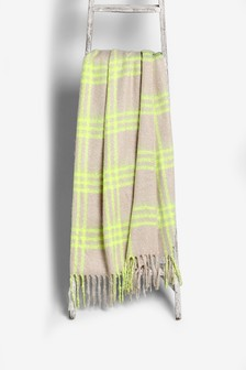 Neon Accent Check Throw