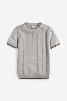 Short Sleeve Textured Crew Jumper