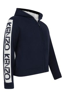 Girls Navy Wool Zip Up Top