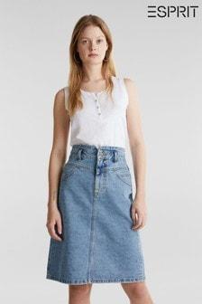 Esprit Blue Midi Denim Skirt