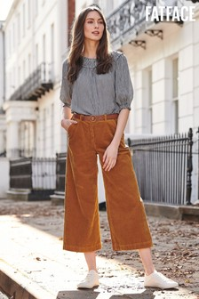 FatFace Tan Cord Wide Leg Cropped Trousers
