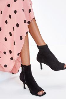 Peep Toe Heeled Shoe Boots