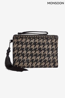 Monsoon Black Hetty Houndstooth Embellished Clutch Bag