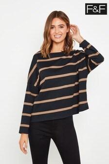 F&F Multi Black Boat Neck Stripe Sweater