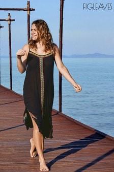 Figleaves Black St Lucia Embroidered Midi Dress