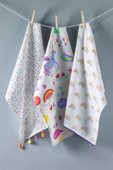 Set of 3 Unicorn Tea Towels