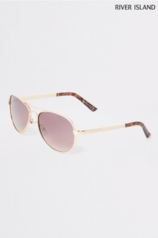 River Island Gold Etched Frame Maisie Sunglasses