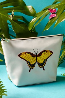 Paradise Embroidered Butterfly Make Up Bag