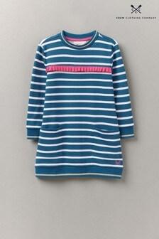 Crew Clothing Company Blue Striped Ruffle Sweater Dress