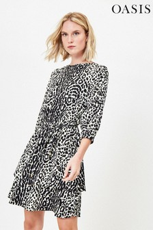 Oasis Black Agate Animal Tiered Hem Skater Dress