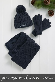 Personalised Three Piece Glove, Hat And Scarf Set
