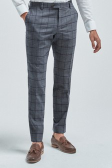 Windowpane Check Suit: Trousers