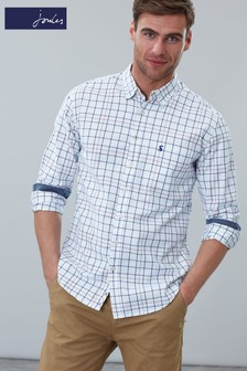 Joules White Welford Long Sleeve Classic Fit Shirt