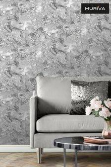 Muriva Silver Elixir Marble Wallpaper