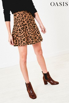 Oasis Animal Kerry Leopard Knit Skirt