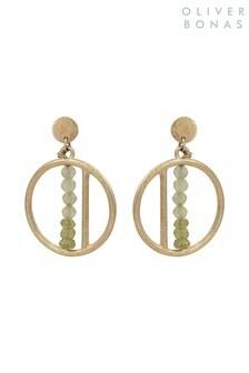 Oliver Bonas Green Amina Mini Stone Round Drop Brass Earrings