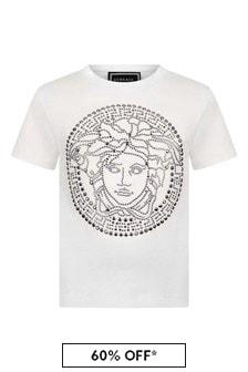 Versace Girls Cotton Studded Logo T-Shirt