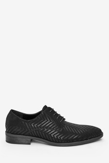 Herringbone Pattern Derby Shoes