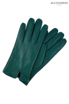 Accessorize Green Basic Leather Gloves