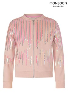 Monsoon Pale Pink Sequin Bomber Jacket