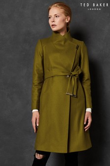 Ted Baker Green Wool Wrap Coat