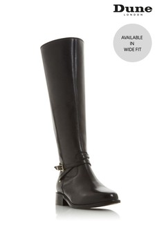 Dune London Wide Fit Black True Trim Knee High Boots