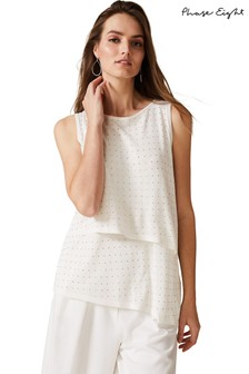 Phase Eight Cream Sia Stud Knit Top