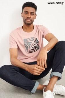 White Stuff Pink Fern Organic Graphic T-Shirt
