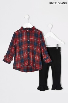 River Island Red Check Shirt And Black Flute Leggings