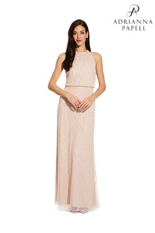 Adrianna Papell Pink Halter Beaded Dress