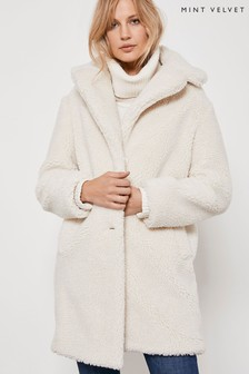 Mint Velvet Cream Teddy Faux Fur Coat