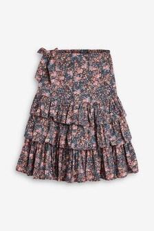 Floral Print Ruffle Midi Skirt (3-16yrs)