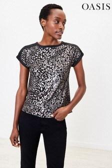 Oasis Regenbogen T-Shirt mit Glitzer und Zierdrehung, Schwarz