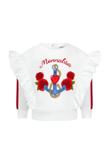 Monnalisa Baby Girls White Cotton Sweat Top