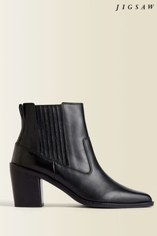 Jigsaw Black Adrienne Leather Ankle Boots